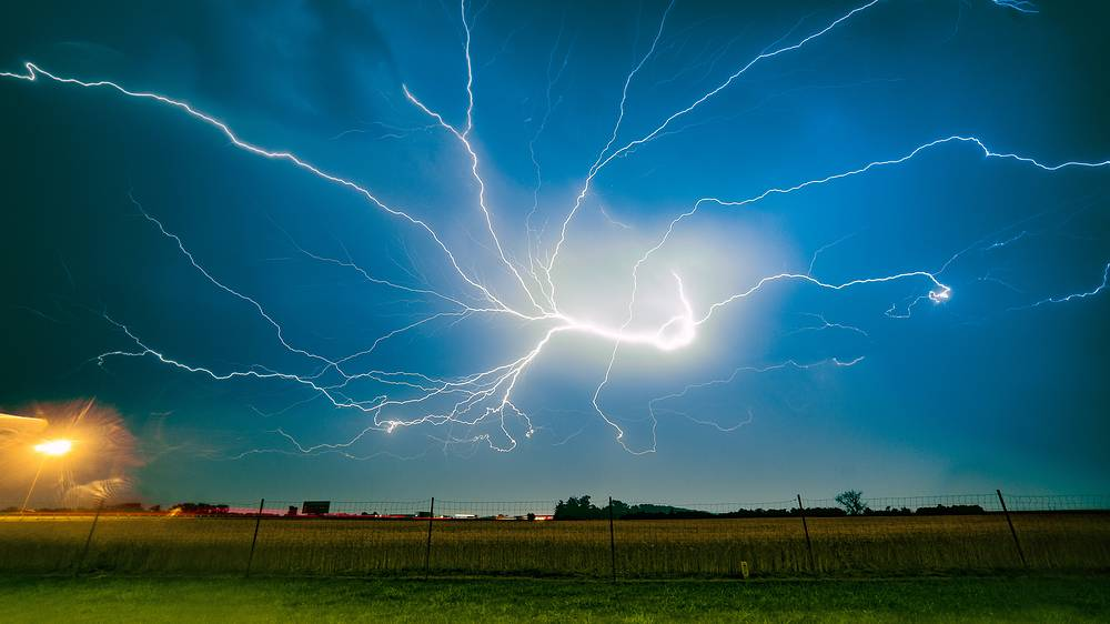 Lightning in the sky over Poznan, Poland June 29