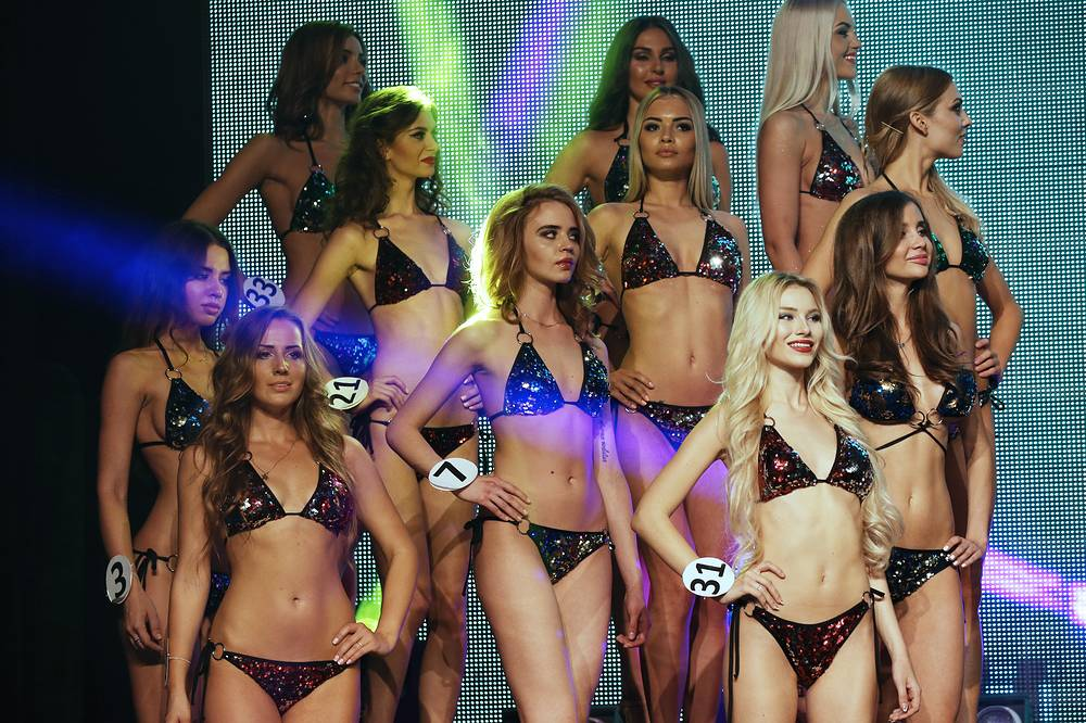 Participants at the final of Miss Moscow beauty pageant, 2016
