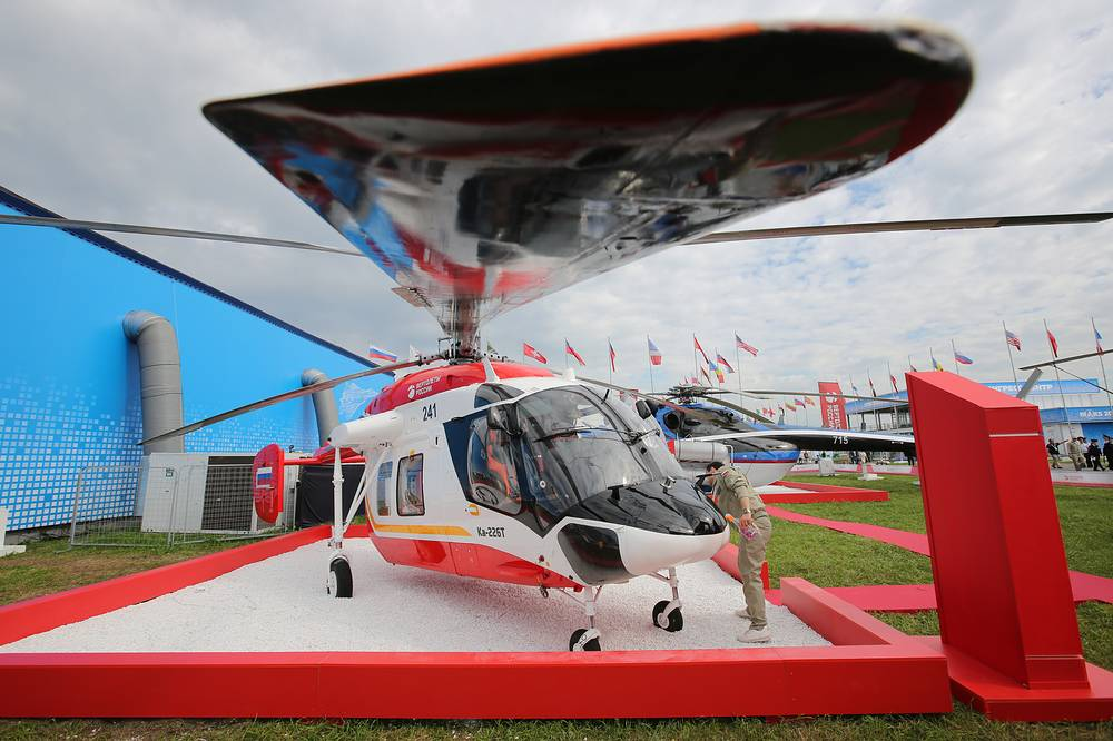 Kamov Ka-226T small multi-purpose helicopter at the MAKS-2017 International Aviation and Space Salon in Zhukovsky, Moscow region