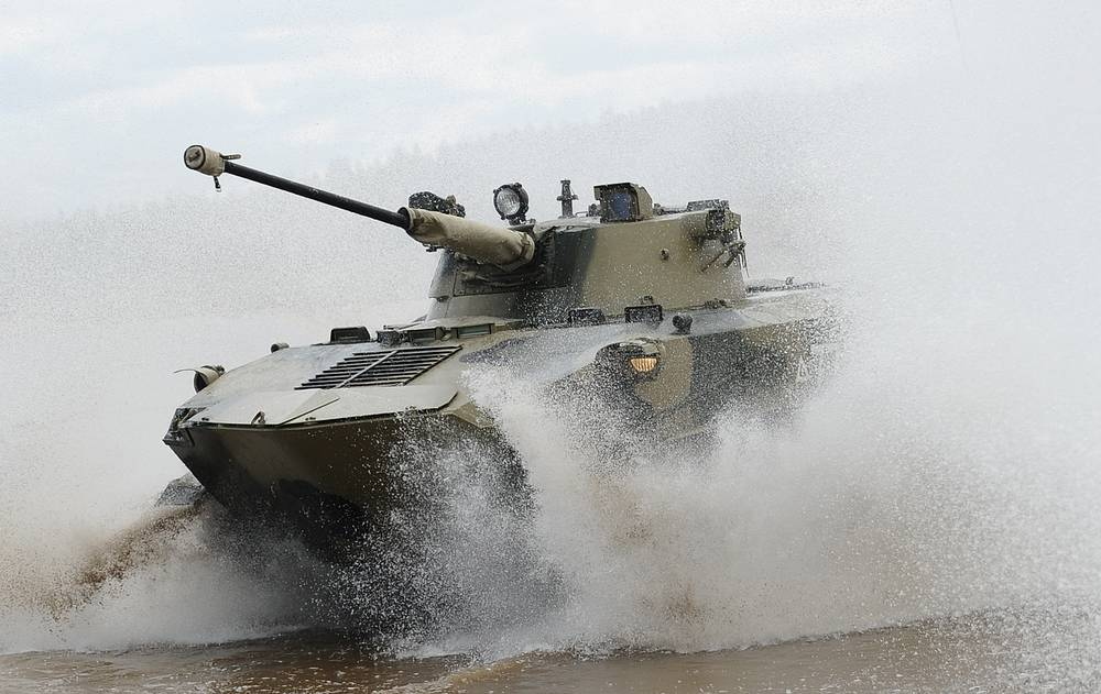 BMD-2 armoured vehicle seen during a military exercise at Dubrovichi military range