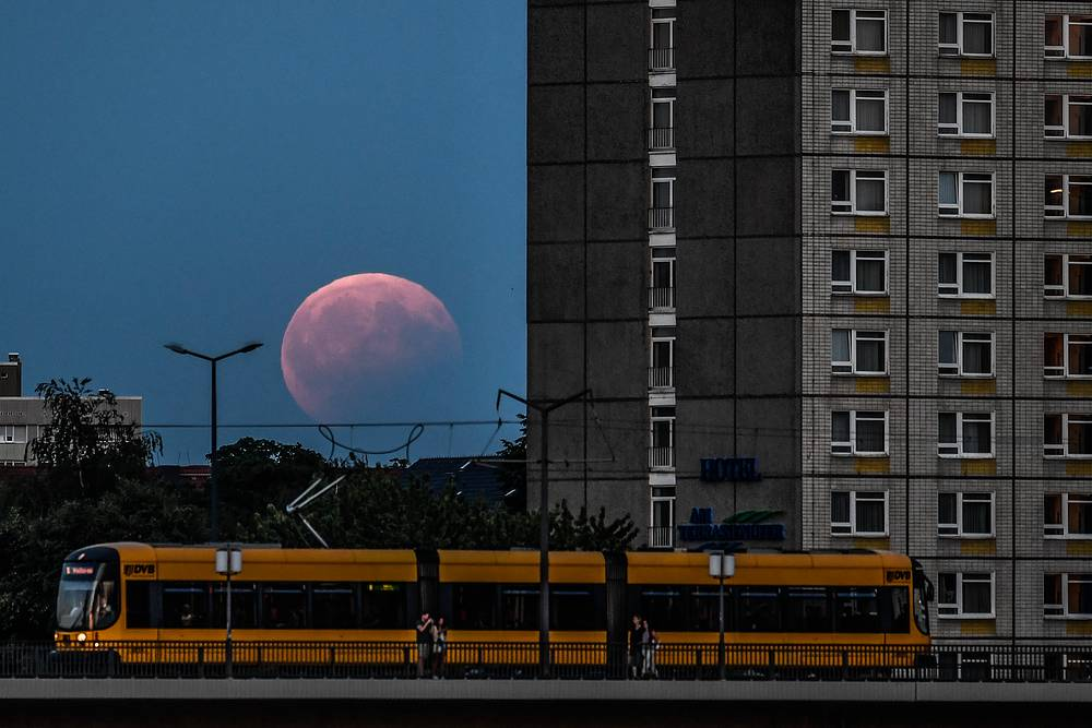 Partial lunar eclipse in Dresden, Saxony, Germany