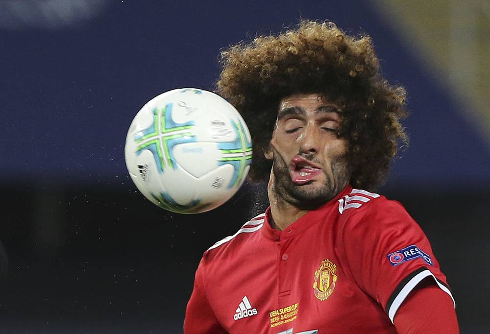 Manchester United's Marouane Fellaini during the UEFA Super Cup final soccer match between Real Madrid and Manchester United at Philip II Arena in Skopje, August 8