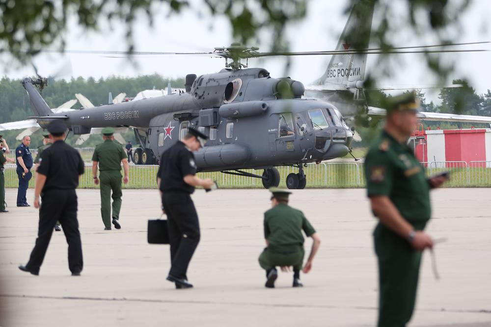 Mi-8 helicopter on display at the Army-2017 forum