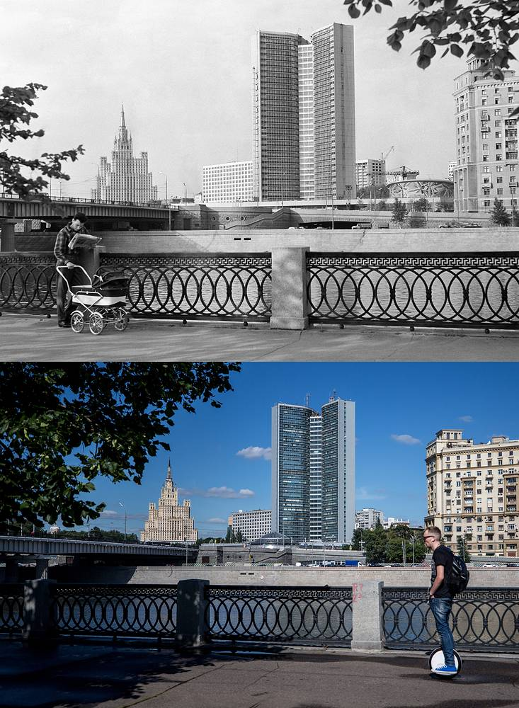 A view of Taras Shevchenko Embankment in 1968 and in 2017