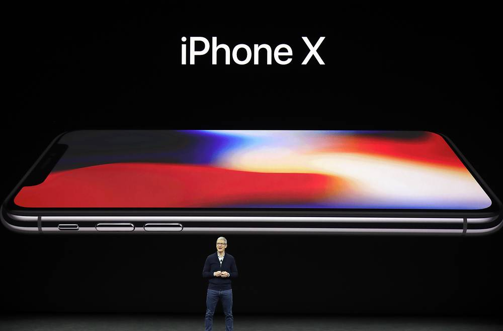 Apple CEO Tim Cook announces the new iPhone X at the Steve Jobs Theater o