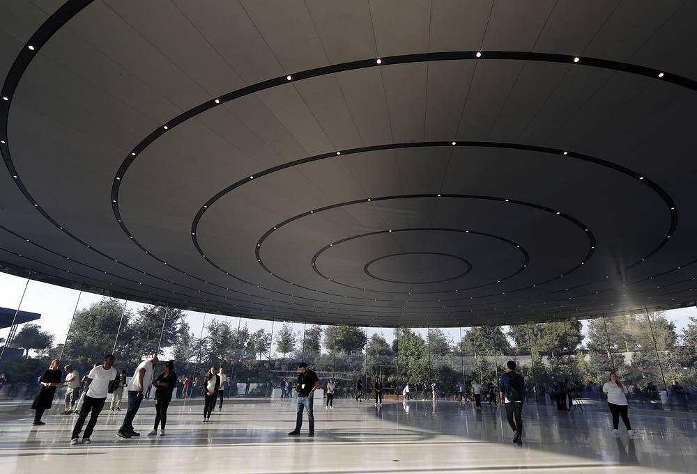 People at the Steve Jobs Theater on the new Apple campus in Cupertino, USA