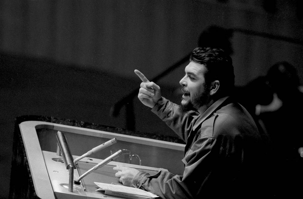 Cuban Industry Minister Ernesto Che Guevara speaks before the United Nations General Assembly in New York, 1964. Guevara charged the US with violating Cuba's territory, and attacked US actions in the Congo, Vietnam, Cambodia, and Laos