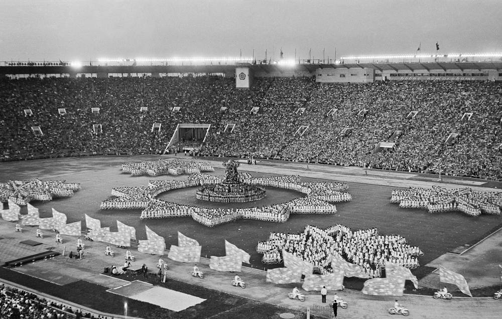 "The 6th World Festival of Youth and Students in 1957 was the largest-ever, with 34,000 young men and women from 100 countries taking part. Photo: Students form the word ""Peace"""