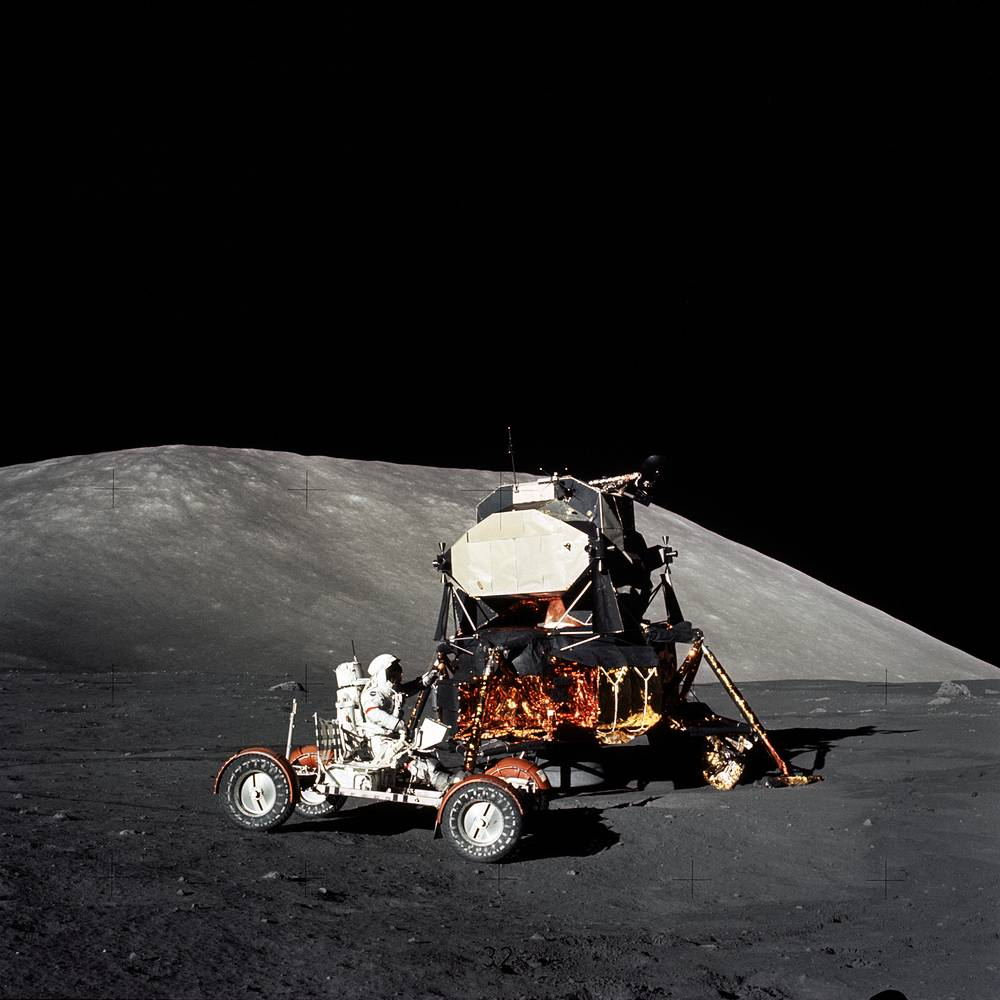 Astronaut Eugene A. Cernan makes a short checkout of the Lunar Roving Vehicle