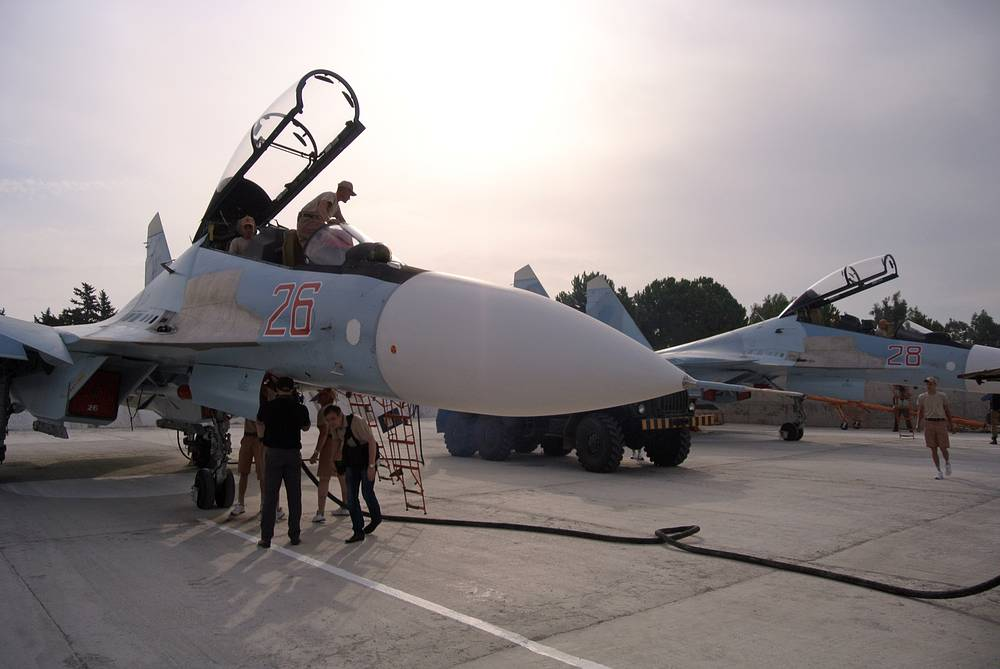 The military operation was launched by Russian Aerospace Forces on September 30, 2015. Photo: Ground crew prepare fighter jets for combat sorties at Hmeymim airbase, October 22, 2015
