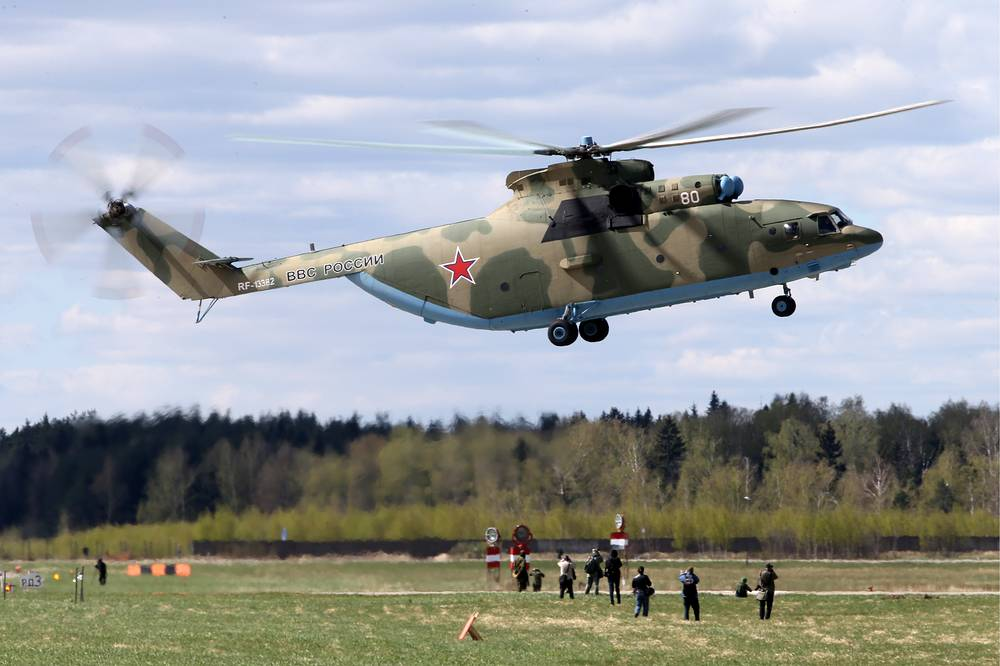 Mi-26 heavy lift cargo helicopter. Operated by both military and civilian operators, it is the largest and most powerful helicopter to have gone into series production