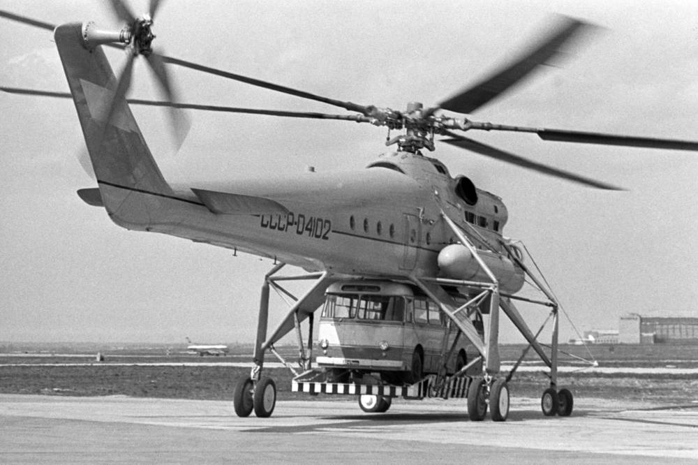 Mi-10, a Soviet military transport helicopter of flying crane configuration, developed from the Mi-6, entering service in 1963
