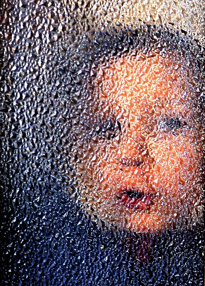 A kid looking through a window of Donetsk's orphanage No 1, February 24