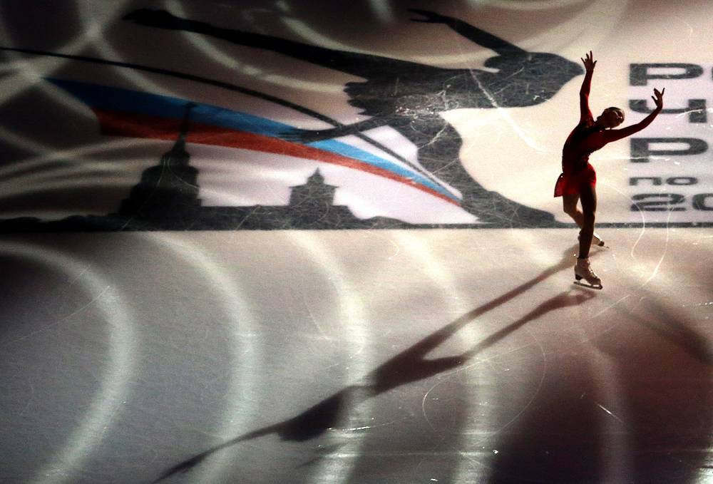 Figure skater Alyona Kostornaya performs a spin during an exhibition gala at the 2018 Russian Figure Skating Championships, Saint Petersburg, Russia, December 24