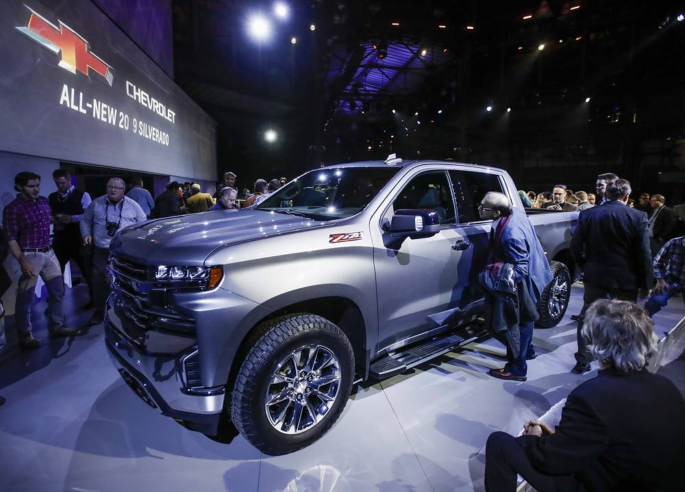 Media and guests attend a special presentation of the 2019 Chevrolet Silverado pickup truck