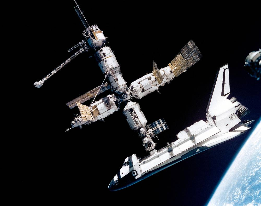 The space shuttle Atlantis connected to Russia's Mir Space Station, 1995