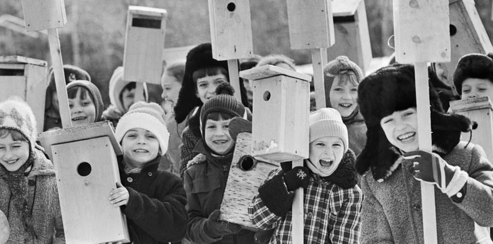 Young naturalists making birdhouses in Chisinau school, 1987