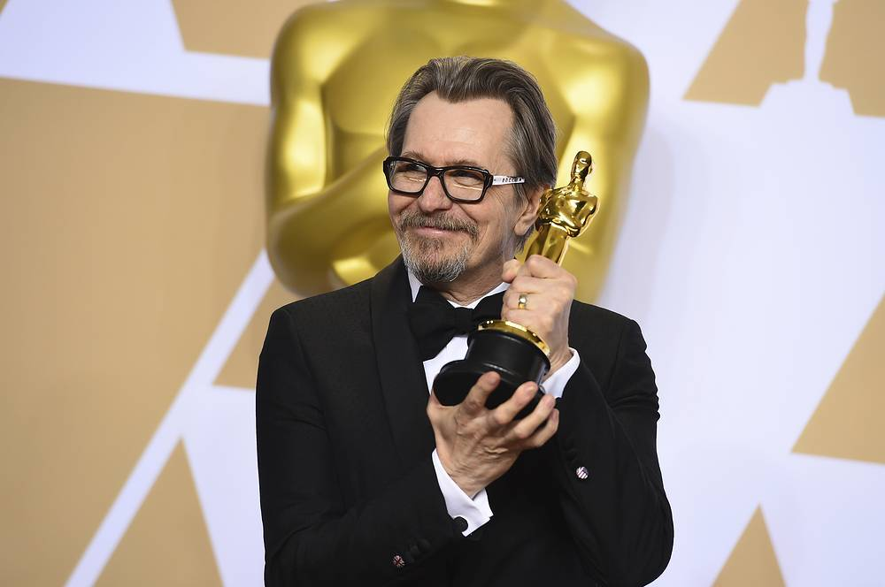 """Gary Oldman, winner of the award for best performance by an actor in a leading role for """"Darkest Hour"""""""