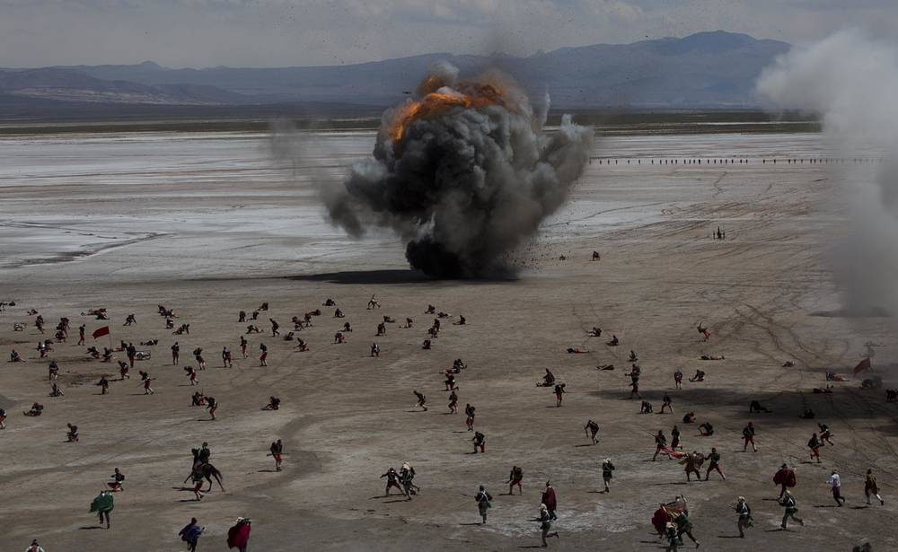 """Bolivian soldiers re-enact the battle of """"Canchas Blancas,"""" which took place during the Pacific War in 1879 when Bolivia lost to Chile and in effect lost its access to the sea, in Canchas Blancas, Bolivia, March 28"""