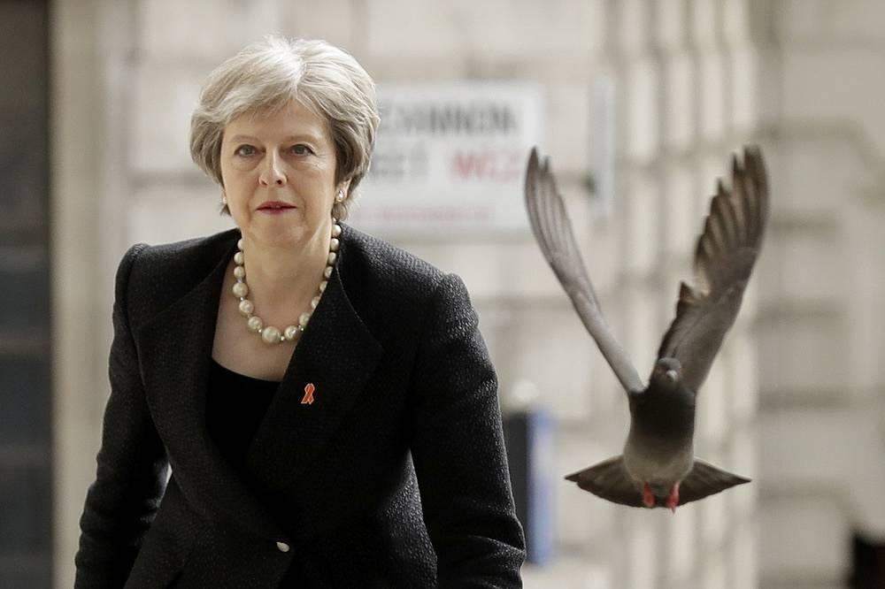 A pigeon takes off as Britain's Prime Minister Theresa May arrives to attend a Memorial Service to commemorate the 25th anniversary of the murder of black teenager Stephen Lawrence at St Martin-in-the-Fields church in London, April 23