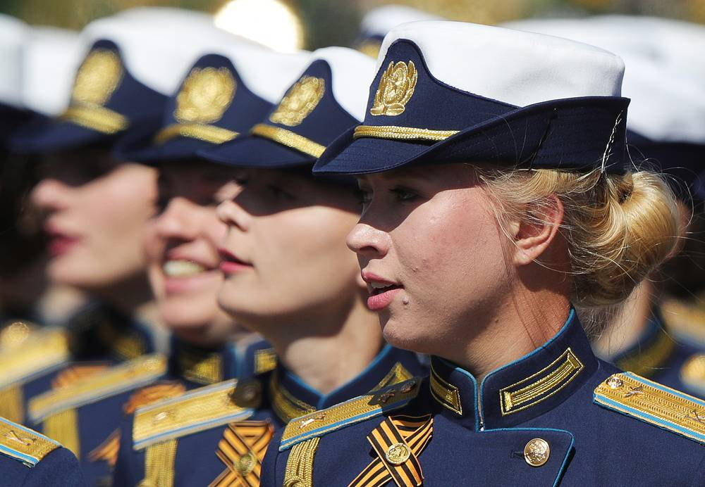 Budyonny Military Academy of the Signal Corps female cadets march in formation in Moscow's Red Square