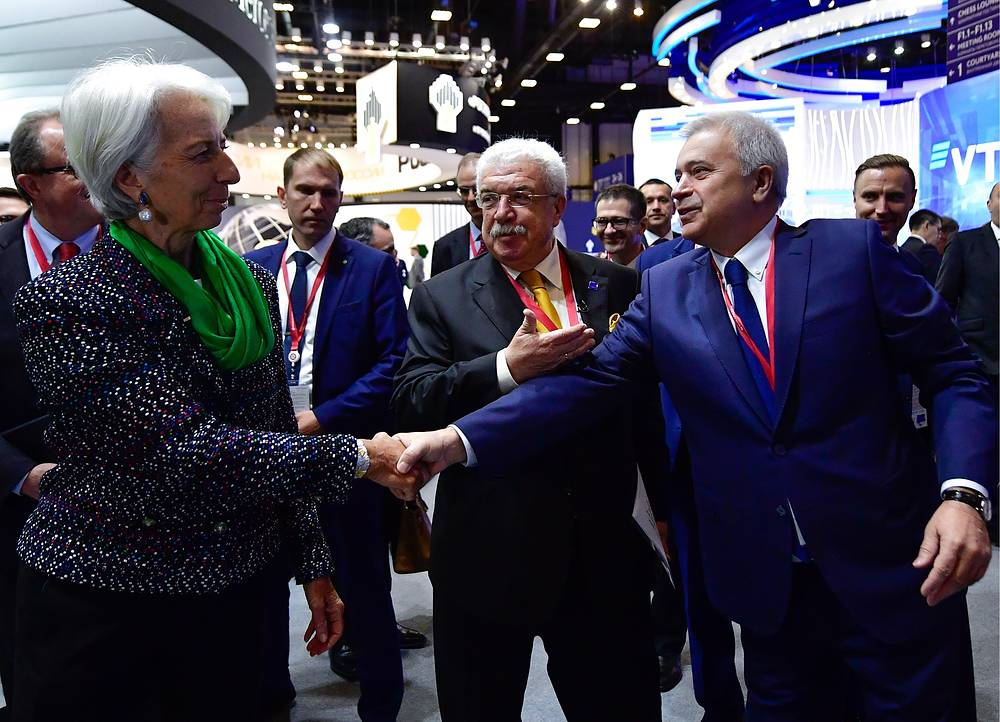 International Monetary Fund managing director Christine Lagarde, TASS First Deputy General Director Mikhail Gusman and Lukoil President Vagit Alekperov at the 2018 St Petersburg International Economic Forum, Saint Petersburg, May 25