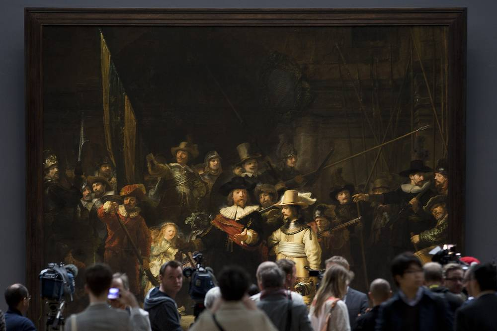 "Night Watch, a 1642 painting by Rembrandt van Rijn, was first slashed with a knife in 1911 by a random man. In 1975, ""Night Watch"" was attacked again with a knife. And in 1990, a man sprayed acid onto the painting with a concealed pump bottle. It was fully restored later and is prominently displayed in the Rijksmuseum"