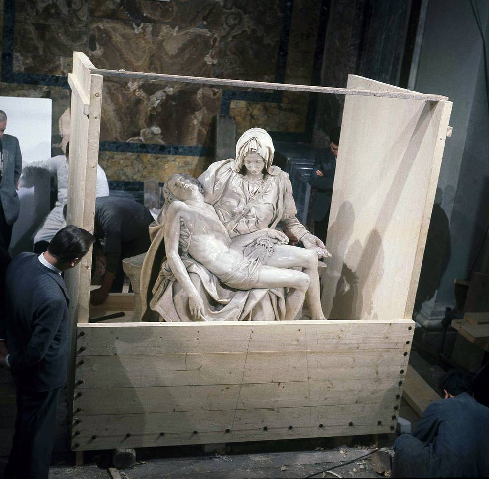"On May 21, 1972, a mentally disturbed man took a hammer to Michelangelo's ""Pieta"" statue, the classical Renaissance sculpture. With fifteen blows a vandal removed Mary's arm at the elbow, knocked off a chunk of her nose, and chipped one of her eyelids. The work was restored and returned to its place in St. Peter's and is now protected by a bulletproof acrylic glass panel"