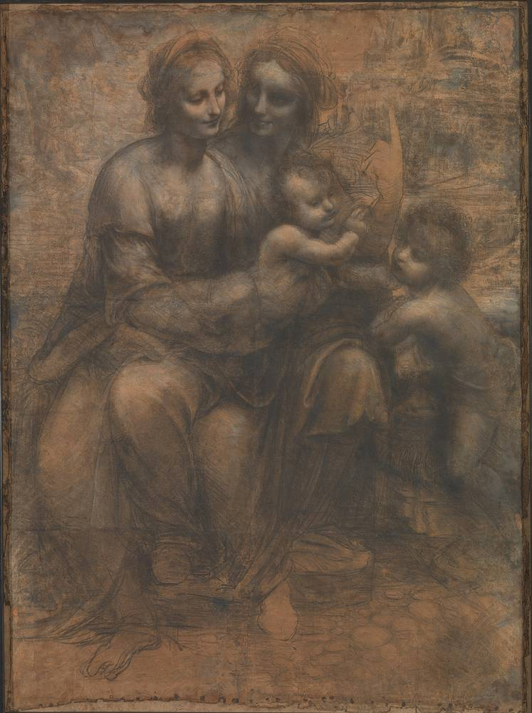 """The Virgin and Child with St Anne and St John the Baptist, a black and white charcoal and chalk drawing by da Vinci, was attacked in 1987, when a man attempted to shoot it with a sawn-off shotgun intending to show his anger at the """"political, social and economic conditions in Britain"""""""