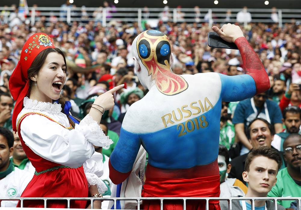 Russian fans pictured before the start of the FIFA World Cup 2018 group A preliminary round soccer match between Russia and Saudi Arabia in Moscow, June 14