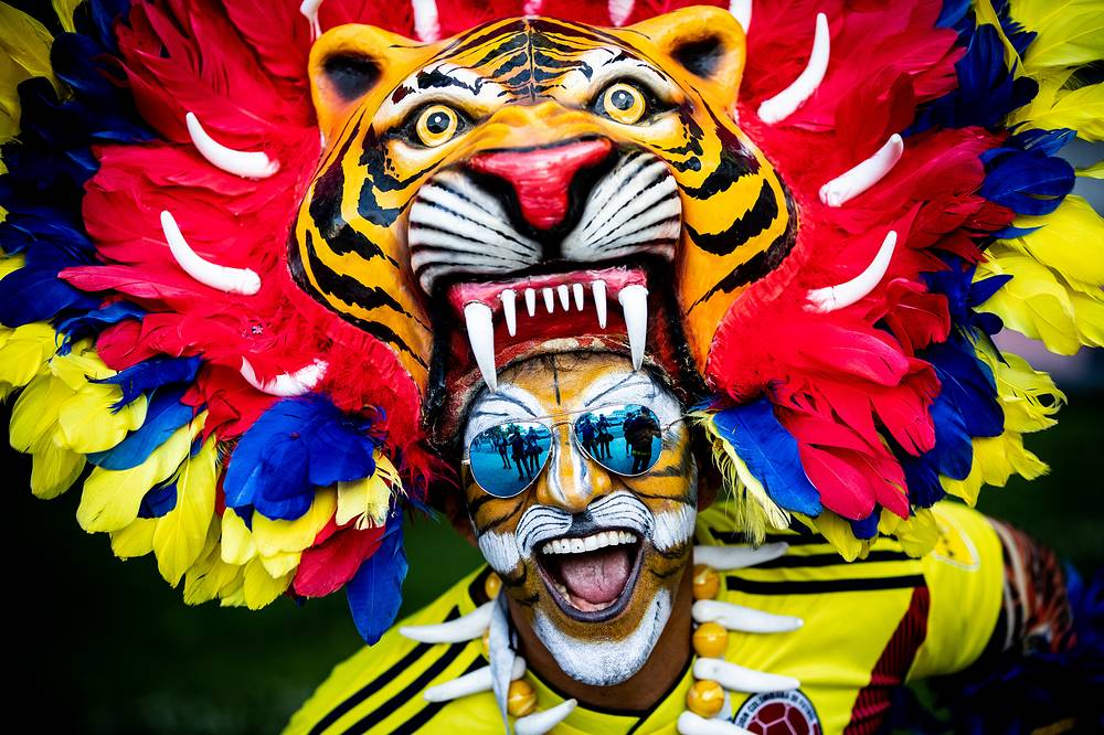 Football fan from Colombia in central Moscow ahead of the 2018 FIFA World Cup, June 13