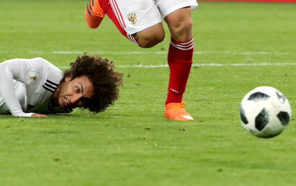 Egypt's Amr Warda in the group A match against Russia at St Petersburg Stadium. Russia won the game 3-1
