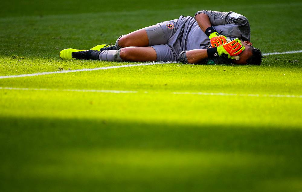 Costa Rica's goalkeeper Keylor Navas reacts as he concedes a goal in the group E match against Brazil at St Petersburg Stadium. Brazil won the game 2-0