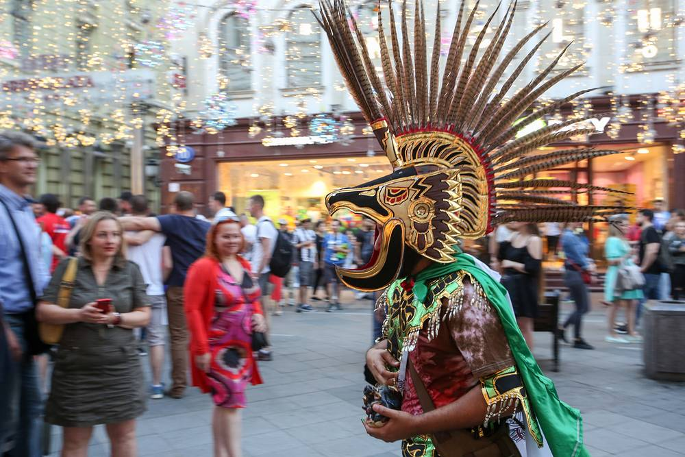 A fan seen during the 2018 FIFA World Cup in a street in Moscow