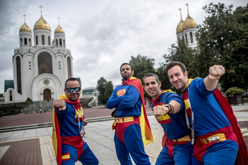 Supporters of Spain pose ahead of Group B match between Spain and Morocco in Kaliningrad, June 25. The teams drew 2-2