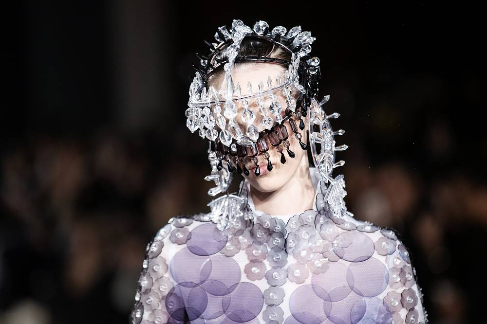 A model presents a creation from the Spring/Summer 2019 Women's collections by Japanese designer Kunihiko Morinaga for Anrealage