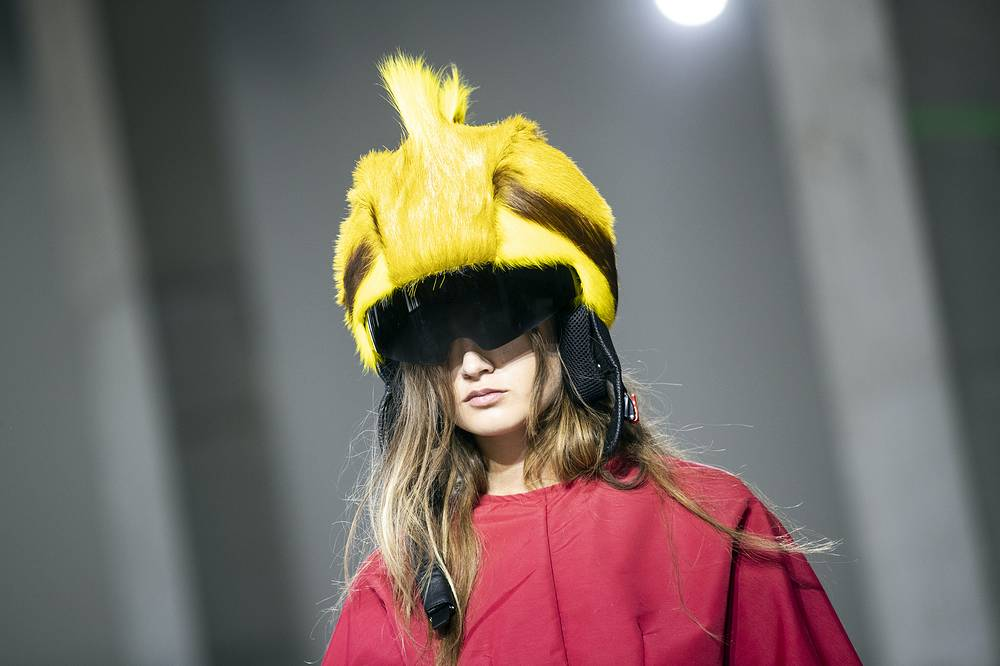 A model presents a creation from the Spring/Summer 2019 Women's collections by Portuguese designers Marta Marques and Paulo Almeida for the British fashion label Marquez'Almeida