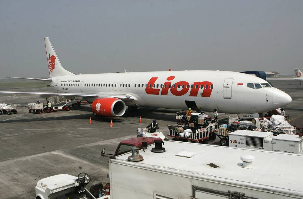 Lion Air passenger jet parked on the tarmac at Juanda International Airport in Surabaya, Indonesia, October 29, 2018