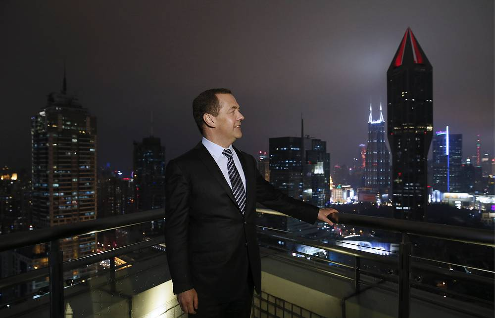 The Prime Minister of Russia, Dmitry Medvedev is seen after the conference in Shanghai Media Group, November 5