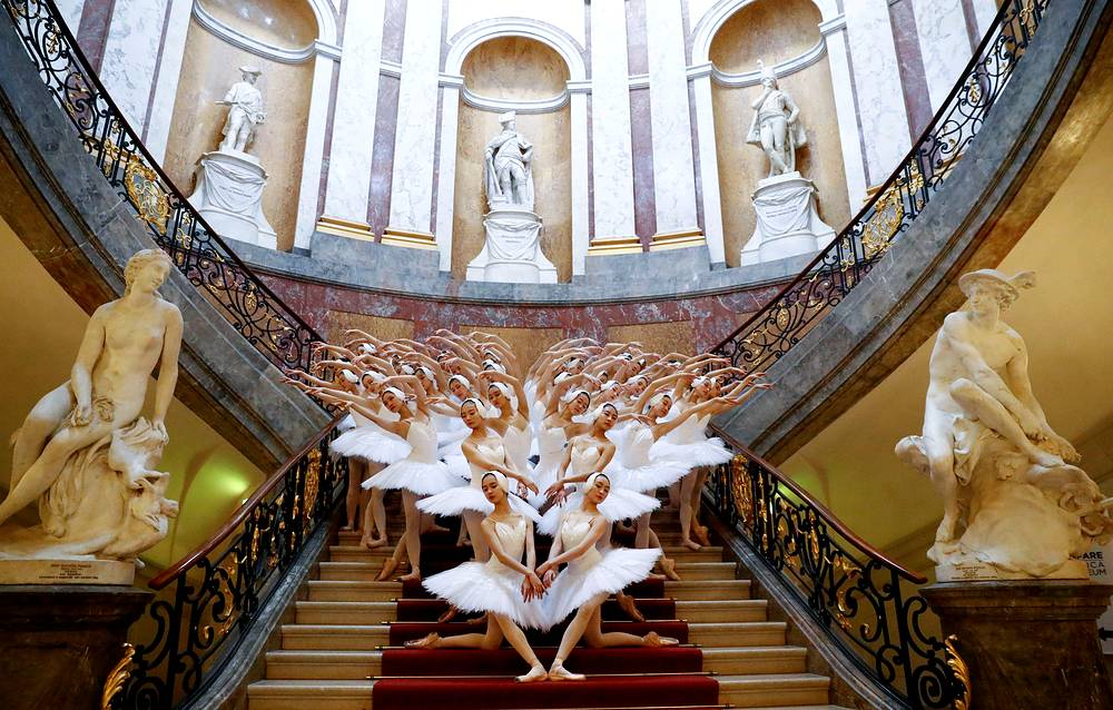 """Shanghai Ballet perform Swan Lake, as """"Greatest Swan Lake in the World"""" instead of 16 swans, this production brings 48 swans on stage inside the Bode Museum to promote the ballet show's premiere in Berlin, November 29"""