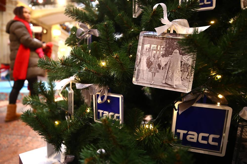 A Christmas tree of the TASS Russian news agency at the GUM Department Store, December 19