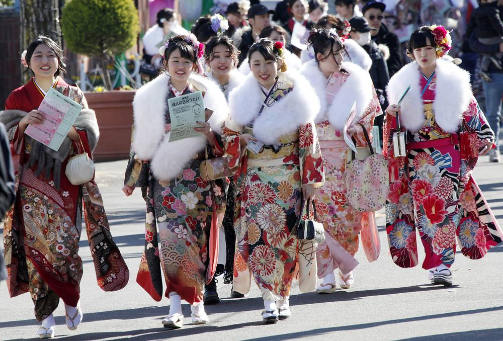Festivities include coming of age ceremonies held at local and prefectural offices and parties among family and friends