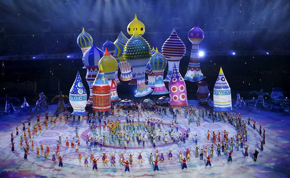 Large helium inflatables creating the elements of St. Basil's Cathedral during the ceremony