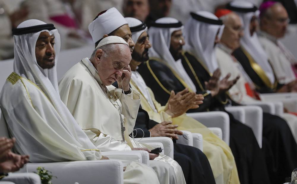 Pope Francis attends an Interreligious meeting at the Founder's Memorial in Abu Dhabi, United Arab Emirates, February 4. His visit represents the first papal trip ever to the Arabian Peninsula, the birthplace of Islam