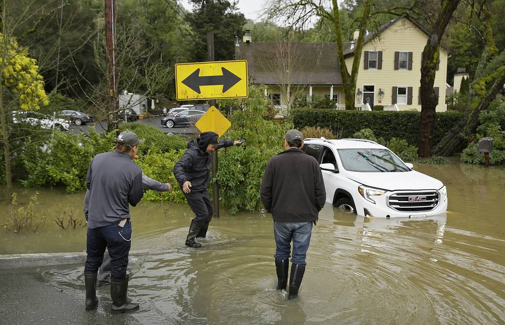 The rain that swamped the area came from a storm system that also dumped heavy snow in the mountains of California and Nevada and in Washington state, Oregon, Idaho and Montana