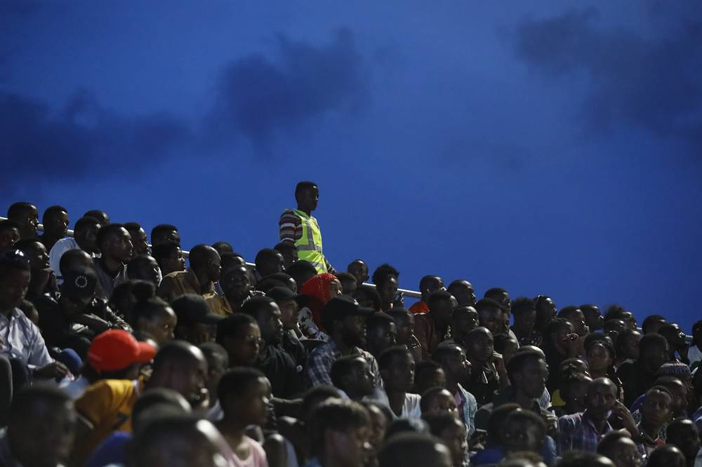 People at the commemoration event for the victims of the 1994 genocide at Amahoro stadium in Kigali, Rwanda