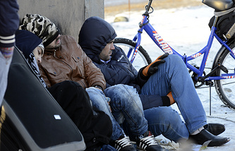 Refugees trying to cross the border from Russia to Norway (archive)