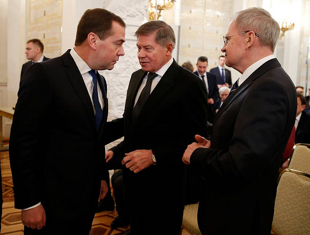 Russian Prime Minister Dmitry Medvedev, President of the Supreme Court Vyacheslav Lebedev, chairman of the Constitutional Court Valery Zorkin