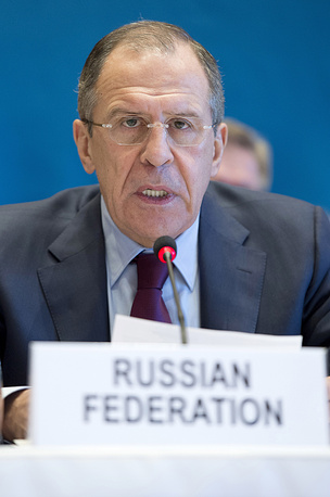 Russian Foreign Minister Sergei Lavrov attends the start of the Syrian peace talks in Montreux