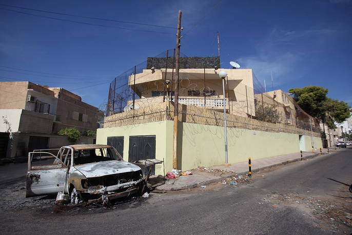 Aftermath of the blast near Russia's embassy in Tripoli
